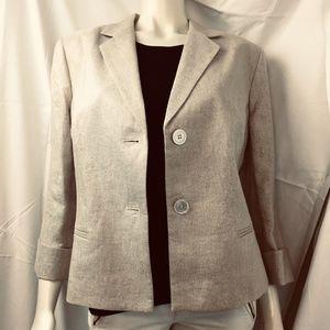 Talbots 16 Grace fit linen blend metallic blazer